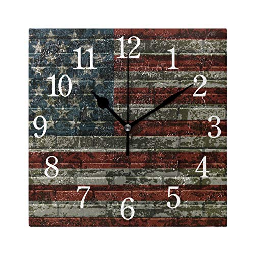 - TFONE Vintage American USA Flag Wall Clock Square Silent Non Ticking Battery Operated Clock for Home Kitchen Bedroom Bathroom Living Room Office Decorative