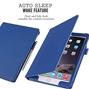 FYY iPad Air 2 Case - Premium PU Leather Case Smart Auto Wake/Sleep Cover with Hand Strap, Card Slots, Pocket for iPad Air 2 Navy