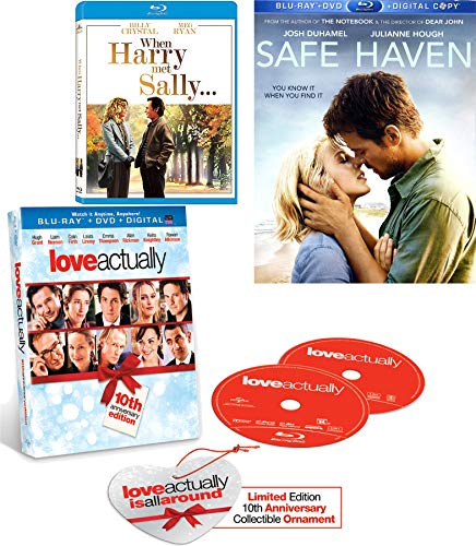 Is All Around Love! Triple Romance Actually Ornament + When Harry Met Sally Romantic Classic Comedy & Safe Haven Nicholas Sparks Movie 3 Story Set Feature date night