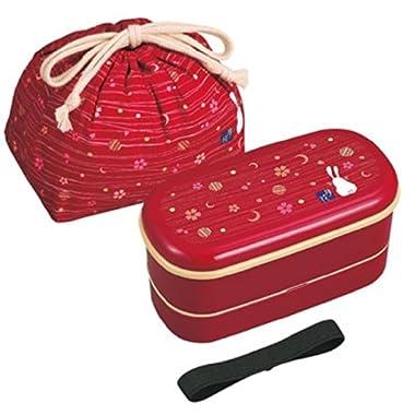 OSK Japanese Traditional Rabbit Moon Bento Box Set, Includes 620ml 2-Tier Bento Box, Chopsticks, Bento Bag, Red