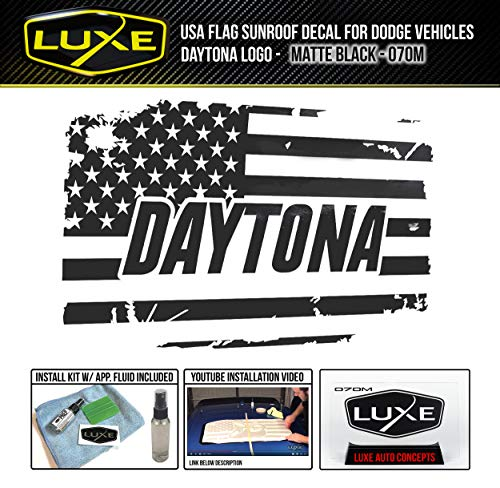 Daytona Decal - Luxe Auto Concepts USA Flag Sunroof Decal for Dodge Vehicles - Daytona Single Color - Matte Black