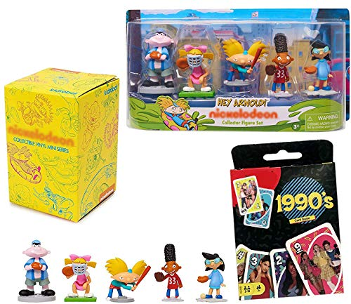 Play Wild Retro 90's Match Game it Color Number Theme Deck Bundled with Nick Cartoon Figures Play Ball Hey Arnold + Nickelodeon Kid Robot Favs Mini Blind Box Vinyl Collectible 3 Items