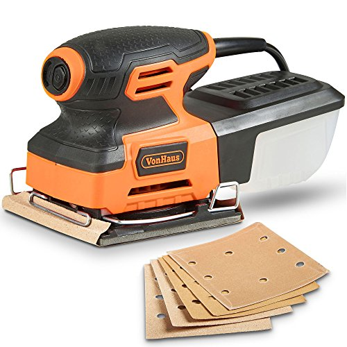 VonHaus 2.2 Amp 1/4 Sheet Palm Sander Kit with 15000 RPM, Fast Clamping System, Dust Collector and 5 Sandpaper Sheets - Ideal for Detailed Sanding by VonHaus (Image #9)
