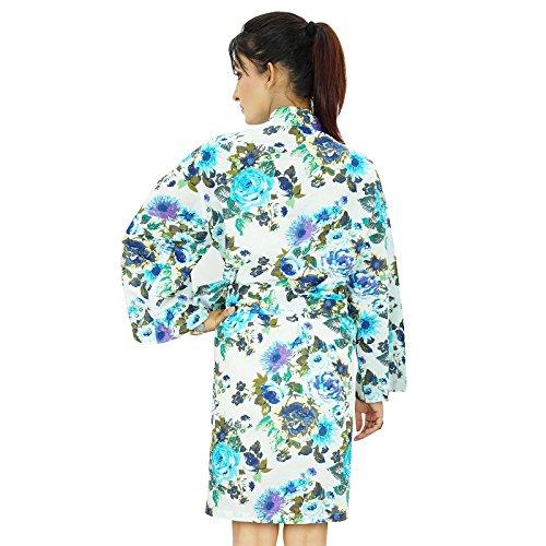 Las mujeres usan corto india impreso algodón traje del balneario dama de regalo Preparándose Robe Blanco y azul