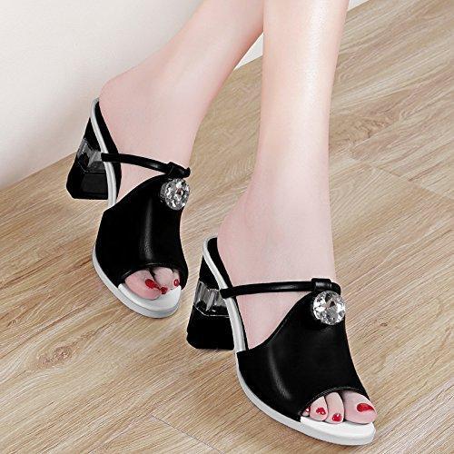 Jqdyl High Heels New Fashion Wild Outdoor High-Heels Dick Mit Coole Hausschuhe Frauen Schuhe Sandalen  38|black