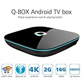 AKASO Q-Box 4K Android 5.1 Smart TV Box Quad Core UHD 3D 1000M LAN Bluetooth Dual Wifi 2.4GHz 5.0GHz Kodi 16.0 HDMI Streaming Media Player Box 2GB 16GB