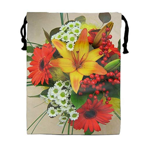 Drawstring Backpacks Cheap for Kids Party Lilies Gerberas Chrysanthemums Leaves Bouquet Favors Bags Gym Drawstring Bags Bulk