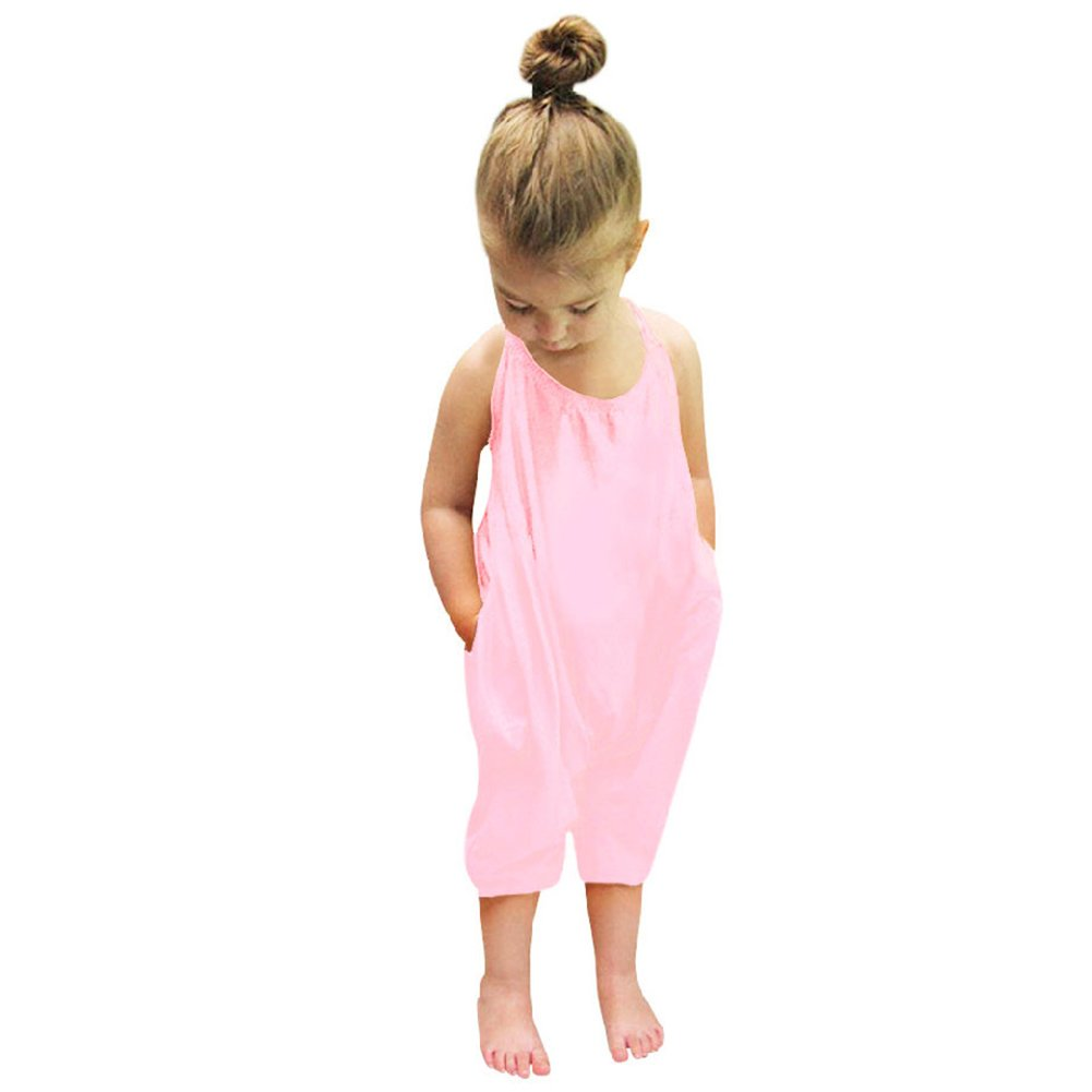 Domybest Baby Girls One-Piece Straps Rompers Jumpsuits Summer Pure Color Pants Clothing (No.110/Age 2-3Y, Orange) 137879 133226