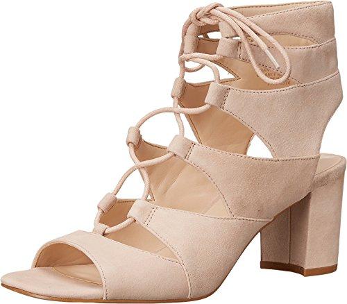 Nine West Women's Takeitup Suede Heeled Sandal, Light Natural, 8.5 M (Nine West Gladiator Sandals)