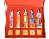 Five Beauties Comb Luxury Set, Beautiful Multi-color Master Hand Craft, Hand Painted Boxwood Hair Comb, Great Gift