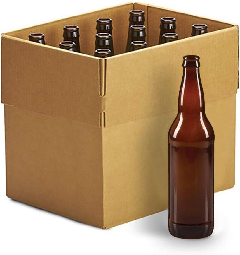 Home Brew Ohio 22oz Crown Cap Amber Longneck Bottles, Case of 12