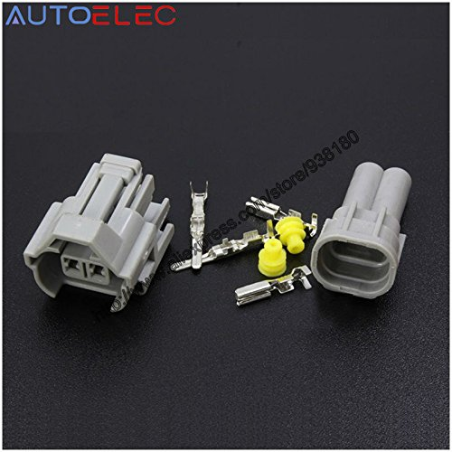 Davitu 10kit 2P automotive waterproof Nippon Denso Fuel Injector Connector Female&male KIT NEW EFI case for Sard Tomei 1JZ 2JZ ()