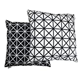 Pure Black and White Cushion Cover, Throw Pillow Cover, For 18 Inch Square Pillows. Geometric Design. Pattern On Both Sides. Soft Material. Set Of 2.