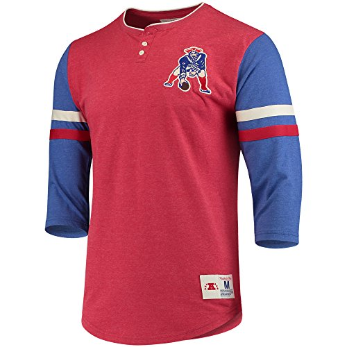 New England Patriots Home Stretch Henley 3/4 Sleeve T-Shirt, NFL Mens Throwback Tee Shirt (L)
