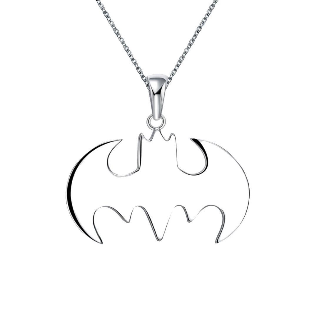 Kollmert Boys Superhero Batman Symbol Silver Necklace Best Gift For Friends Pendant (Silver Batman, Alloy)