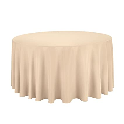 LinenTablecloth 120 Inch Round Polyester Tablecloth Beige