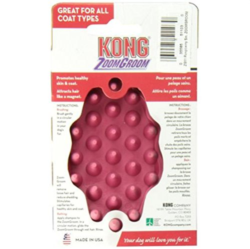 KONG ZoomGroom Promotes healthy skin and coat Dog Grooming Brush Small Raspberry