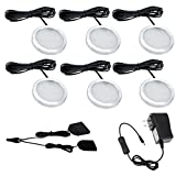AIBOO Under Cabinet LED Lights Kit for Kitchen Counter Closet 6 Packs Slim Aluminum Puck Lamps with Switch 12Vdc 12W All Accessories Included (12W,Day White)