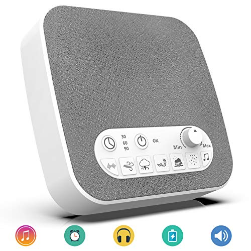 White Noise Machine Sound Machine Sleep Therapy with 7 Natural Soothing Sounds - USB Charger, Adjustable Volume Headphone Jack Auto-Off Timer Portable for Home Office Travel for Sleeping & Relaxation (Noise Machine Travel)