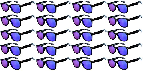Wholesale of 20 Pairs Flat Mirrored Reflective Purple Lens Sunglasses Black Frame Horn Rimmed - Glasses Owl Rimmed