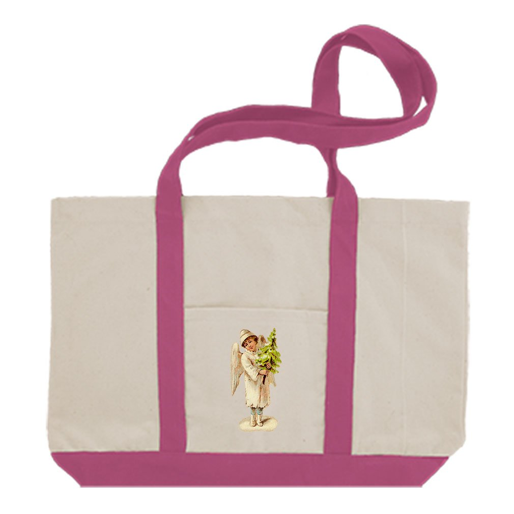 Canvas Boat Tote Bag Angel White Coat Holds Christmas Tree #4 By Style In Print | Hot Pink
