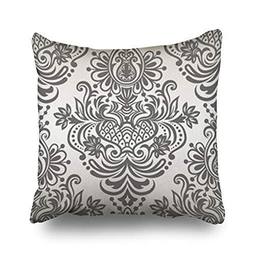 Decor Champ Throw Pillow Covers Border Floral Pattern Damask Design Abstract Monochrome Pillowcase Square Size 16 x 16 Inches Decorative Home Sofa Cushion Cases