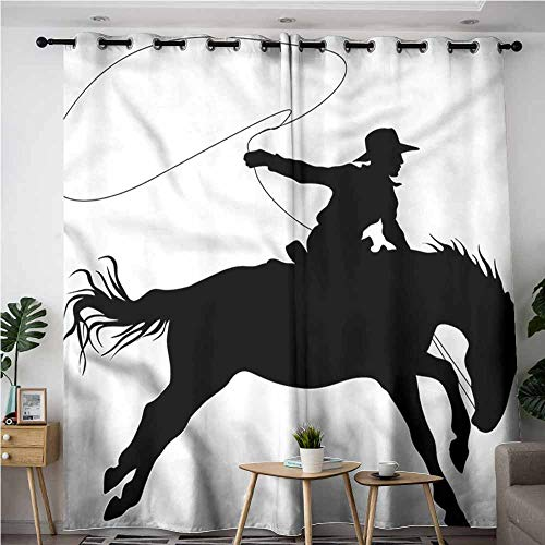 - BE.SUN Thermal Insulating Blackout Curtains,Cartoon,Horse Rider Riding Western,Room Darkening, Noise Reducing,W84x96L