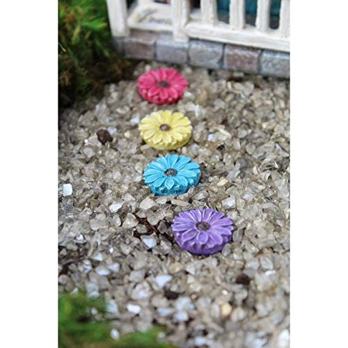 ShopForAllYou Figurines and Statues Fairy Garden Mini - Colorful Flower Stepping Stones - Set of 4 (Stone Solar Light Stepping)