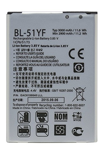 Bastex Replacement Battery for 3.85 Volt Standard Li-Ion Extended Battery 3000mAh BL-51YF for LG G4 Phone H815 H811 H810 VS986 VS999 US991 F500 LS991