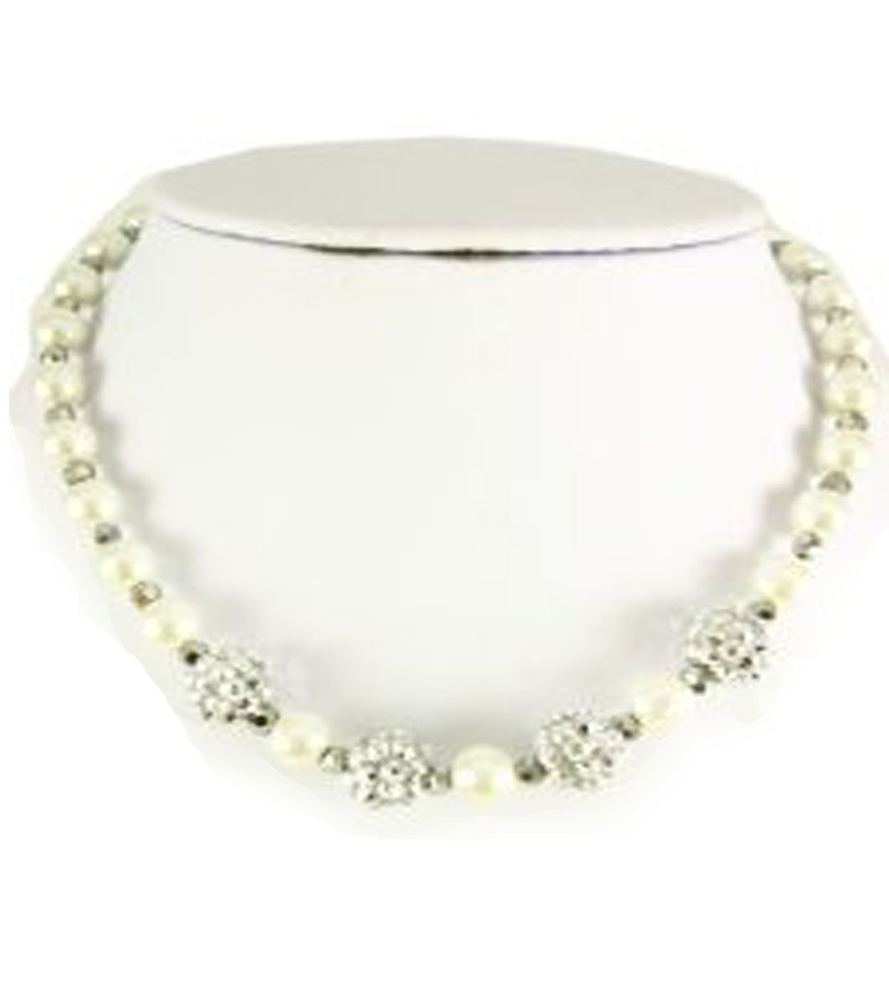 V G S Eternity Fashions Fashion Jewelry ~ Kids Pearls Set~ White Imitation Pearls Accented with Crystals (White)