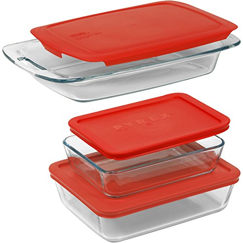 Pyrex Easy Grab 6-Piece Set Glass with Plastic Lid Cover in Red