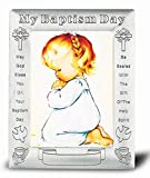 Praying Girl Baptismal Antique Pewter Photo Frame 5.5'' x 7'' Overall Size (Boxed)