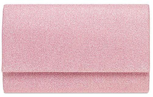 Caspar TA400 Bolso de Mano Fiesta Brillante para Mujer Clutch Brillo, Talla:Talla Única, Color:rosa