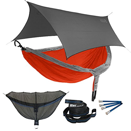 Eagles Nest ENO DoubleNest OneLink Combo - Orange/Grey Hammock+Grey Profly by Eagles Nest Outfitters