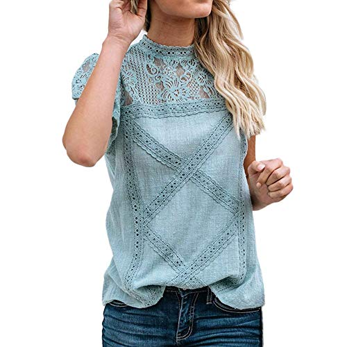 Hivot Women's T Shirts Lace Patchwork Flare Ruffles Tops Short Sleeve/Long Sleeve Cute Floral T-Shirt Tanks Blouse Green