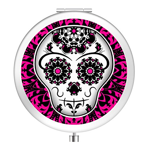 Compact Mirror, [New Version] Customized Portable Folding Travel Mirror Double Sides with 2x &1x Magnification Round Pocket Makeup Mirror for Cosmetic Beauty - Girly Day of the Dead Sugar Skull