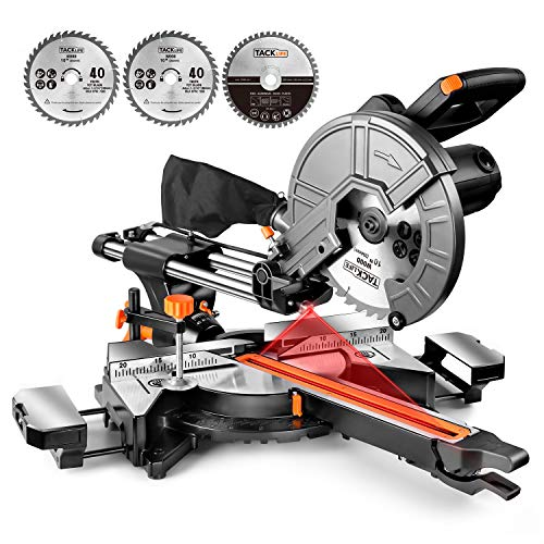 TACKLIFE Sliding Compound Miter Saw, Double Speed 3200/4500rpm, 2000W, 40T&48T Blades, 45° Bevel Cut with Laser Guide, Extensible Table, Dust Bag – EMS01A