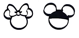 MICKEY AND MINNIE MOUSE HEADS SET OF 2 SPECIAL OCCASION COOKIE CUTTERS BAKING TOOL 3D PRINTED MADE IN USA PR1017