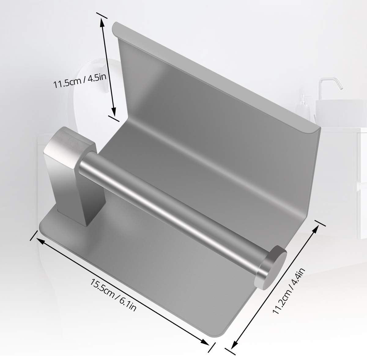 VOLUEX Portarotolo da parete con ampio ripiano autoadesivo in acciaio inox SUS304 per bagno e cucina
