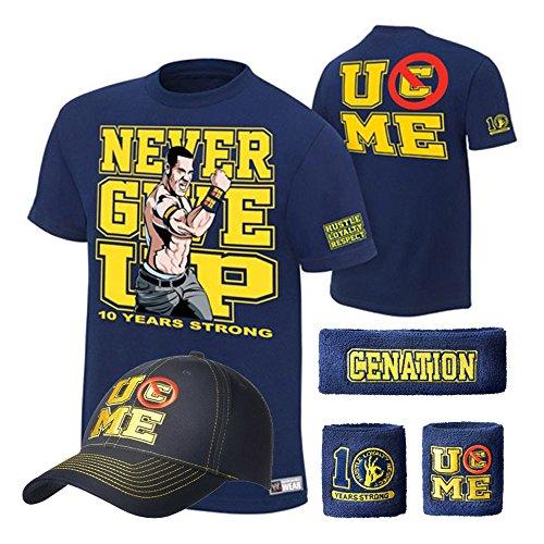 (WWE John Cena T-shirt , Cap , Sweatbands strong Wristbands 5 Piece Set Wrist RAW (XL, dark blue))