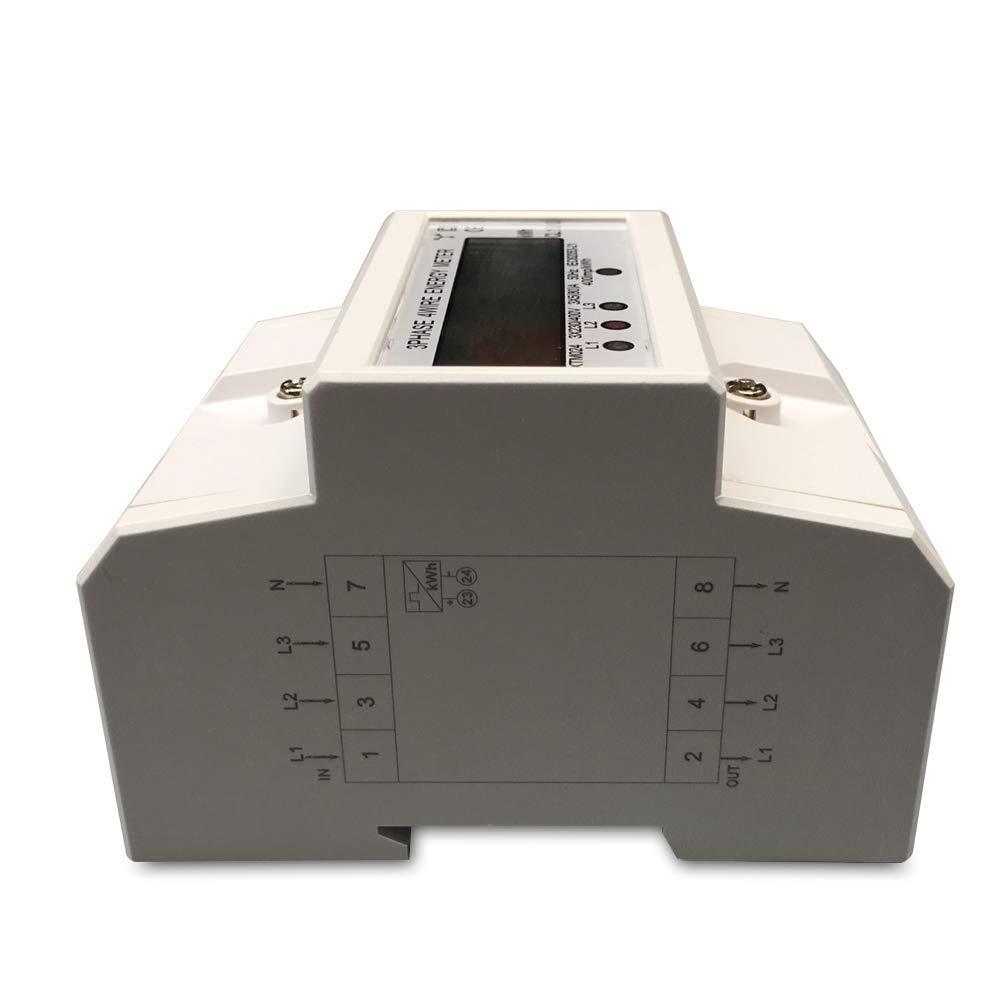 A f/ür DIN Hutschiene D 80 TABODD 3-Phasen-4-Draht Messger/ät LCD digitaler Drehstromz/ähler Stromz/ähler in 3x230//400V 5