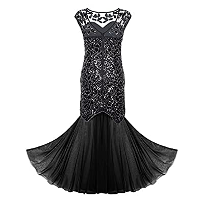 PrettyGuide Women 's 1920s Black Sequin Gatsby Maxi Long Evening Prom Dress: Clothing