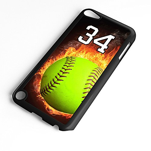 (iPod Touch Case Fits 6th Generation or 5th Generation Softball #0700 Choose Any Player Jersey Number 34 in Black Plastic Customizable by TYD Designs)