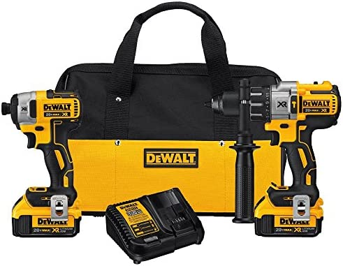 DEWALT 20V MAX XR Brushless Impact Driver and Hammer Drill Combo Kit, Premium 4.0Ah DCK299M2
