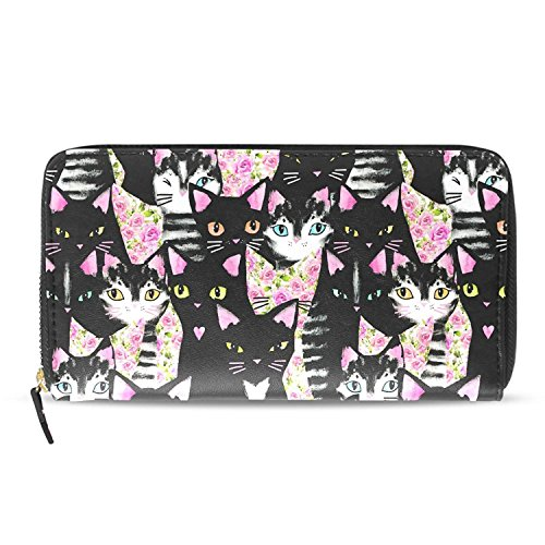 Cute Cartoon Hipster Black Cat Rose Wallet Women PU Leather Clutch Purses And Handbags by HJudge