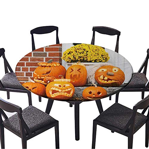 Premium Round Tablecloth six Halloween Pumpkin Everyday Use 55