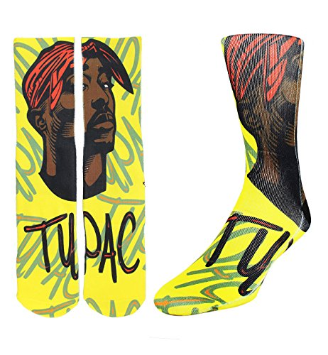 Zmart Men's Crazy Fun Color Athletic Sports Mismatch Crew Cotton Socks,Tupac,Socks size -