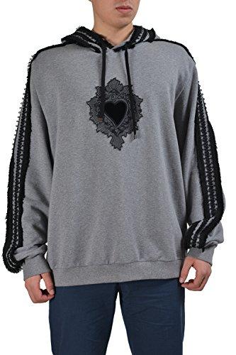Dolce & Gabbana Gray Embellished Men's Hooded Sweater US 4XL IT 60
