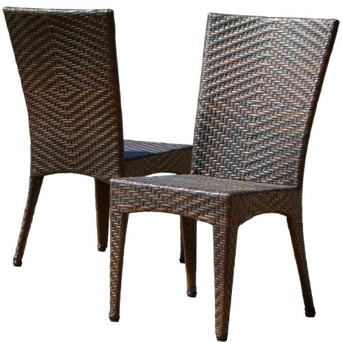Great Deal Furniture 232459 Solana Outdoor Brown Wicker Chairs (Set of 2) (Wicker Chairs Cheap Dining)