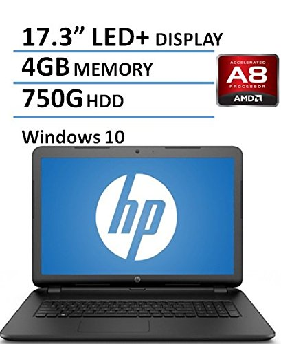 HP 17.3 Inch Notebook Laptop (AMD A8-7050 Processor up to 3.0GHz, 4GB RAM, 750GB Hard Drive, DVD/CD Drive, HD Webcam, Windows 10 Home) (Certified Refurbished)